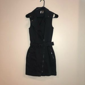 Black Denim Zip Up Dress